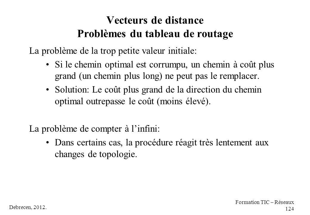 Vecteurs de distance Problèmes du tableau de routage