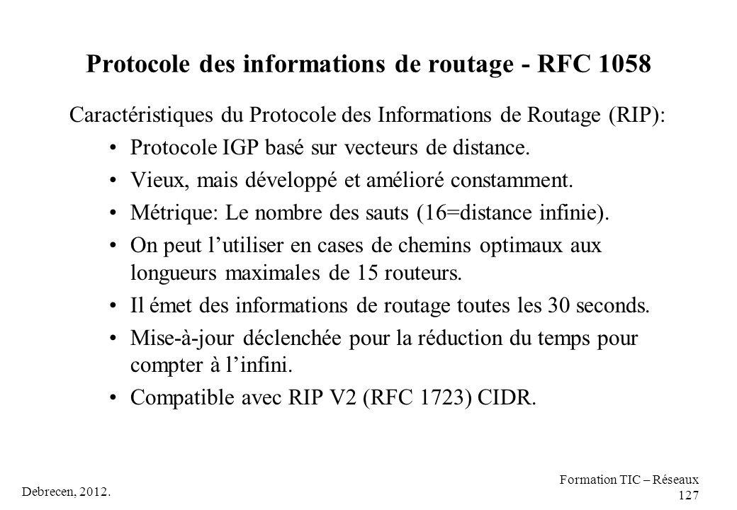 Protocole des informations de routage - RFC 1058