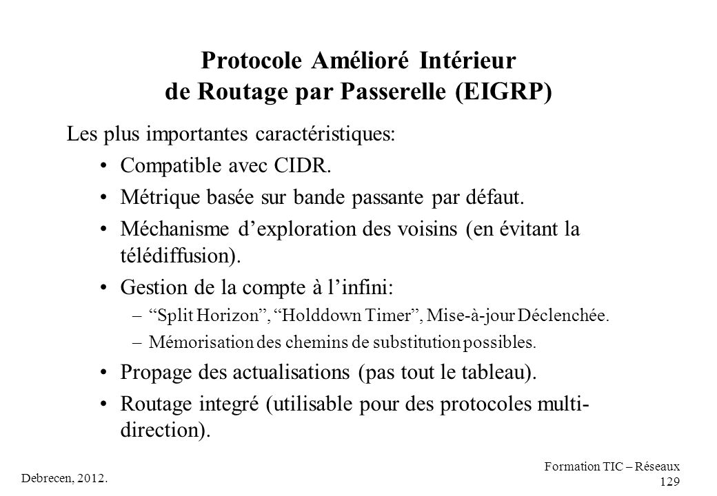 Protocole Amélioré Intérieur de Routage par Passerelle (EIGRP)