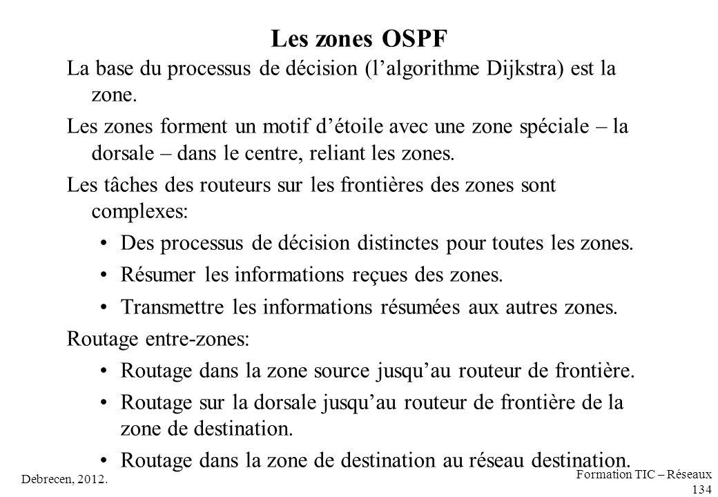 Les zones OSPF La base du processus de décision (l'algorithme Dijkstra) est la zone.