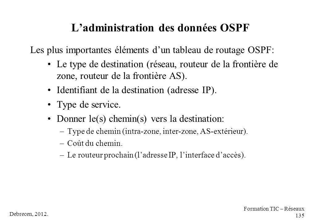 L'administration des données OSPF