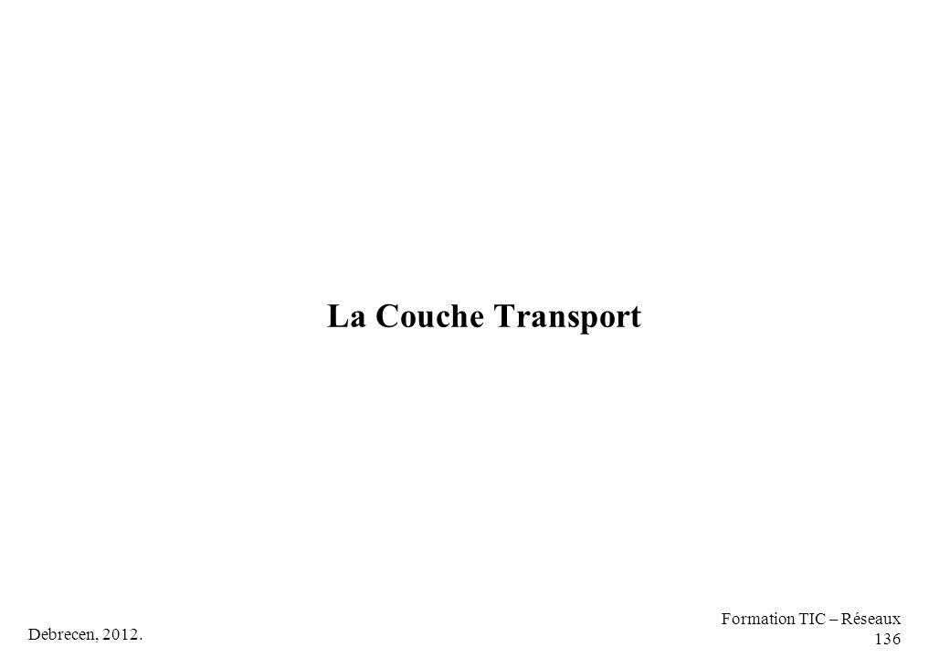 La Couche Transport Formation TIC – Réseaux 136 Debrecen, 2012.