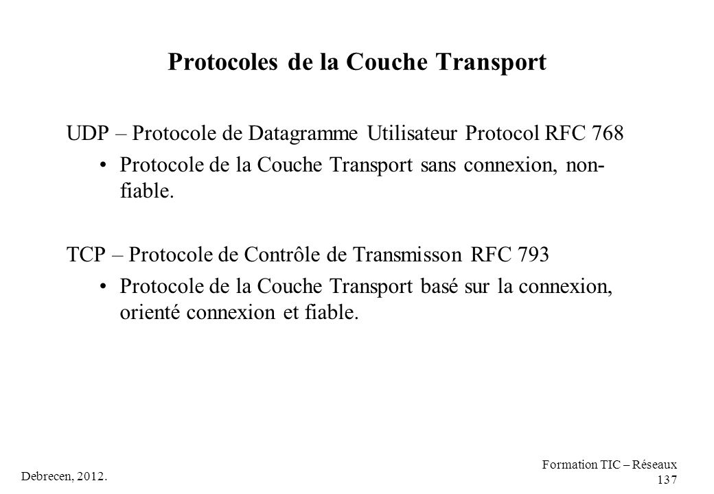 Protocoles de la Couche Transport
