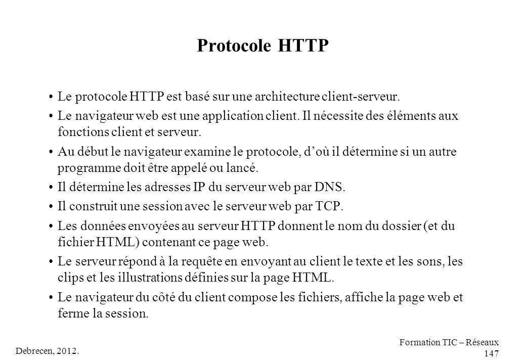Protocole HTTP Le protocole HTTP est basé sur une architecture client-serveur.