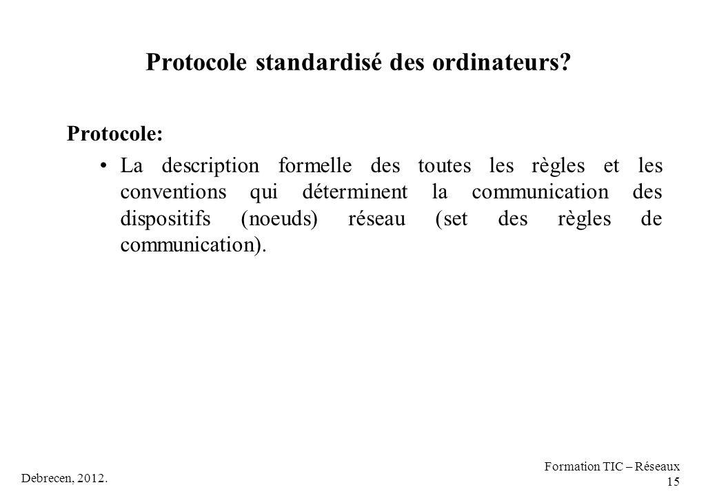 Protocole standardisé des ordinateurs