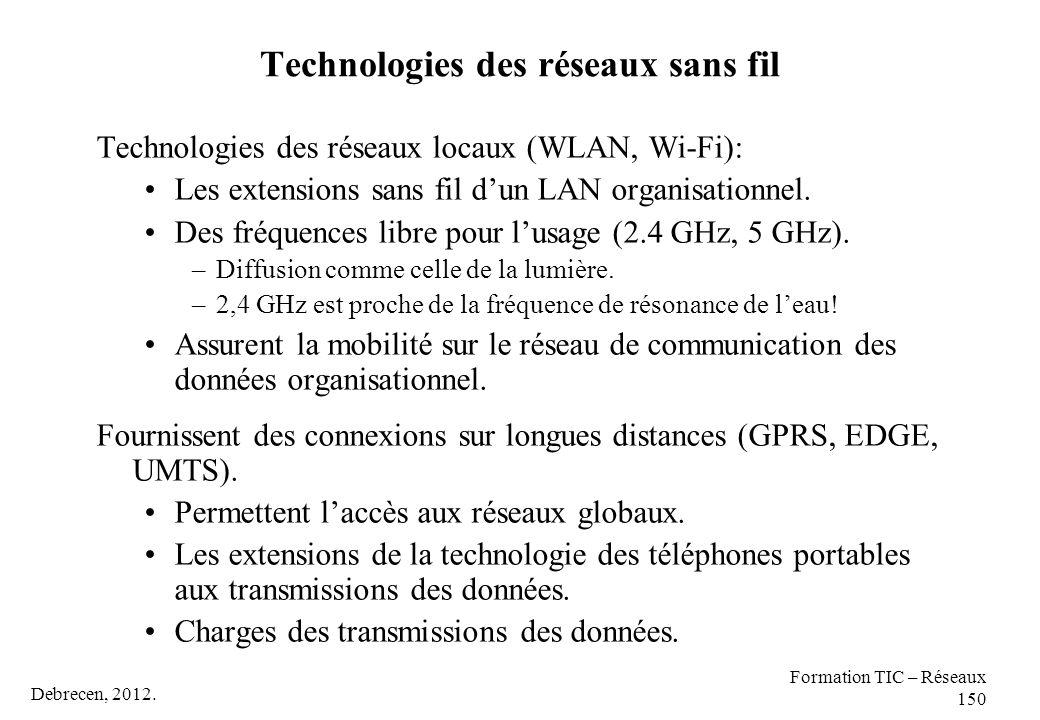 Technologies des réseaux sans fil