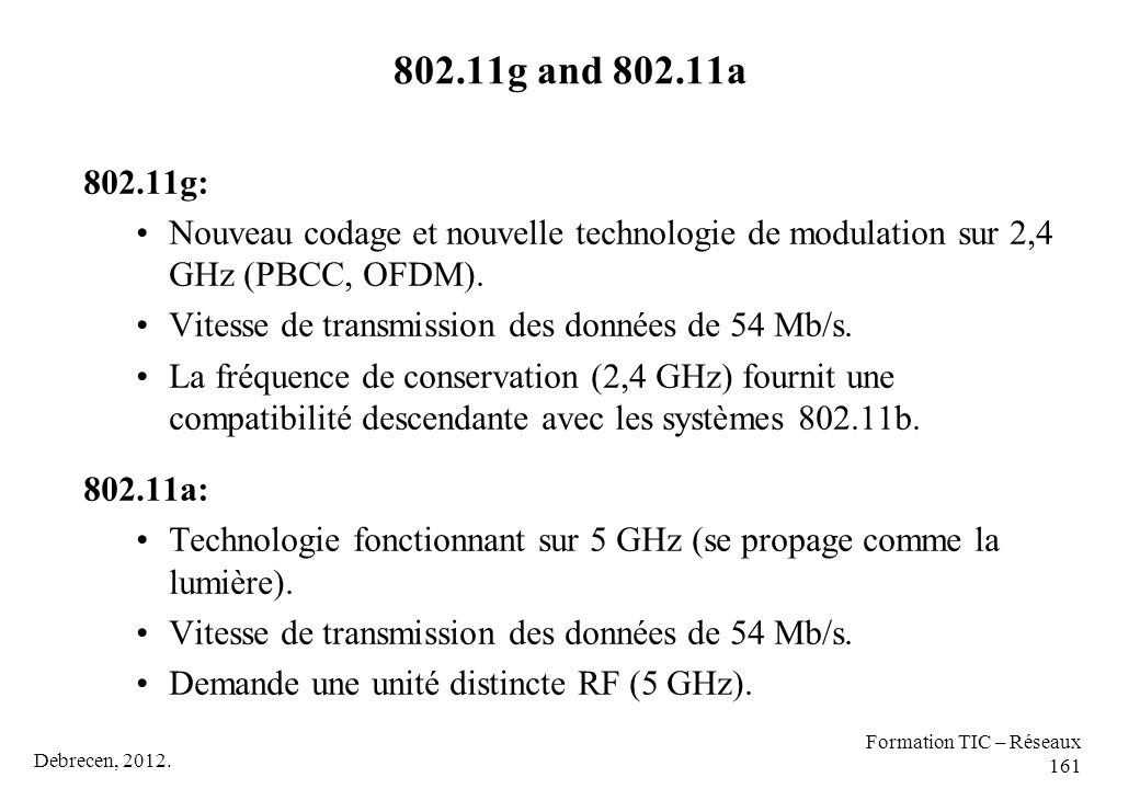 802.11g and 802.11a 802.11g: Nouveau codage et nouvelle technologie de modulation sur 2,4 GHz (PBCC, OFDM).