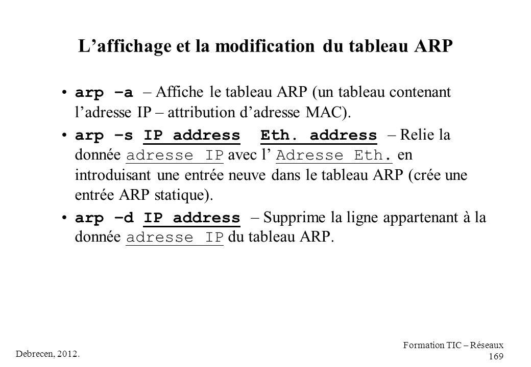 L'affichage et la modification du tableau ARP