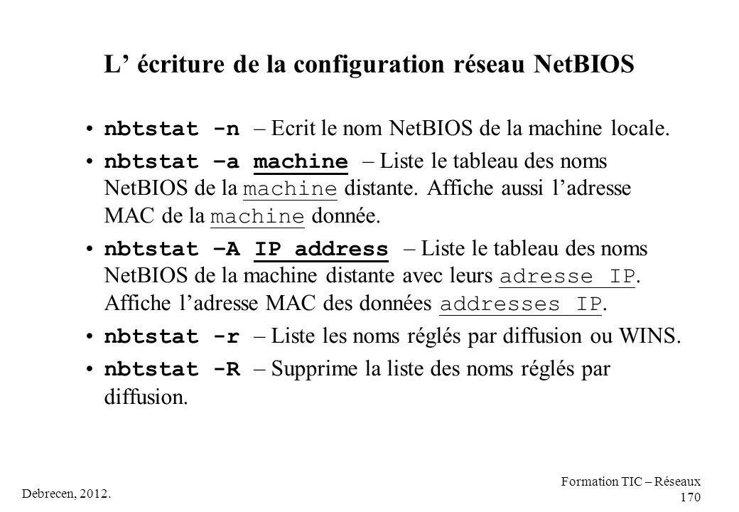 L' écriture de la configuration réseau NetBIOS