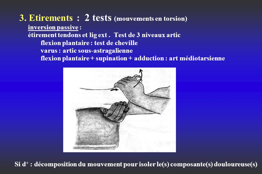 3. Etirements : 2 tests (mouvements en torsion) inversion passive : étirement tendons et lig ext . Test de 3 niveaux artic flexion plantaire : test de cheville varus : artic sous-astragalienne flexion plantaire + supination + adduction : art médiotarsienne