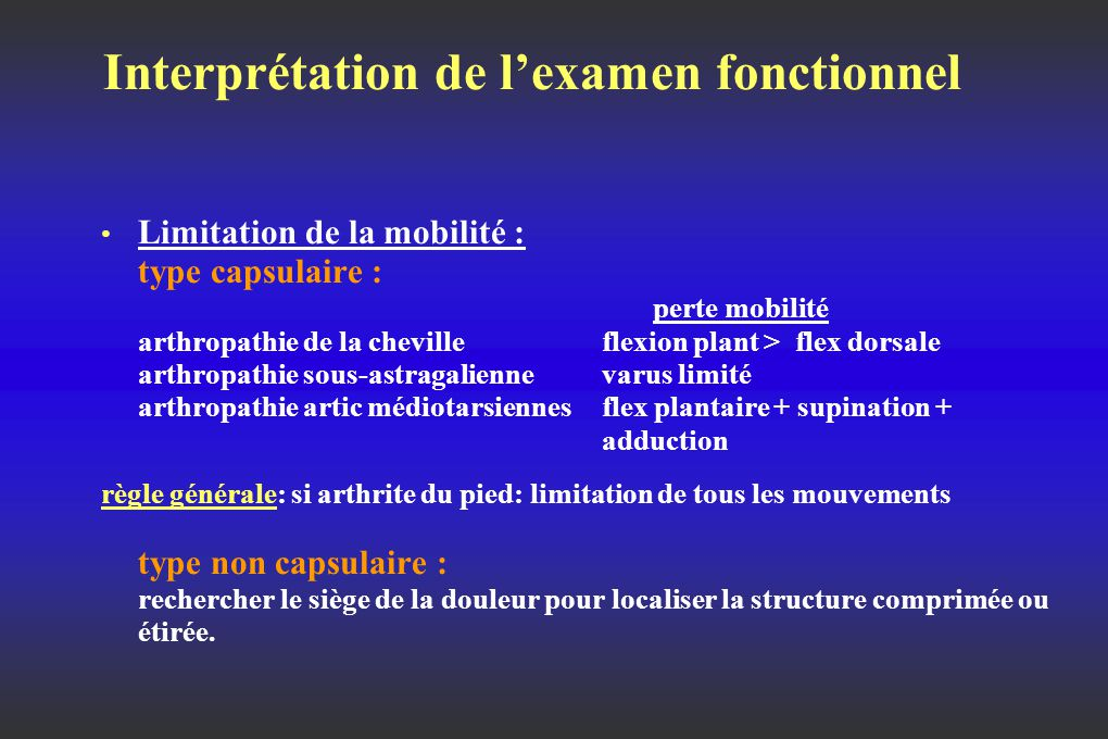 Interprétation de l'examen fonctionnel