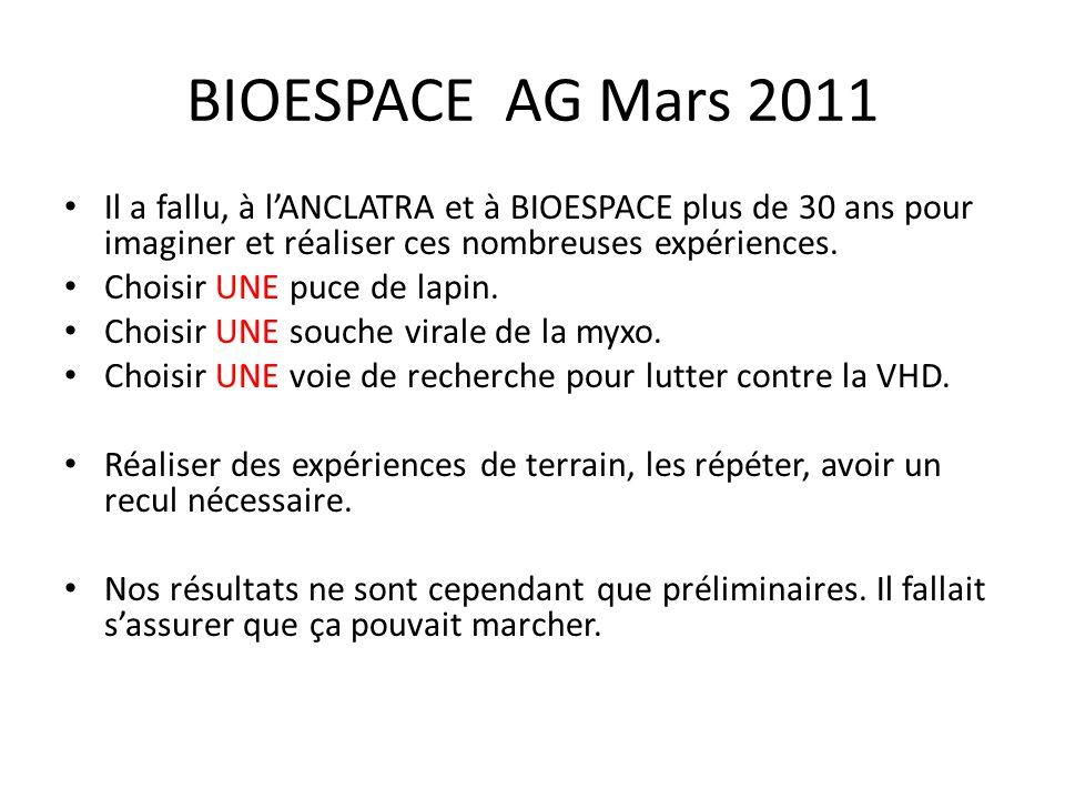 BIOESPACE AG Mars 2011 Il a fallu, à l'ANCLATRA et à BIOESPACE plus de 30 ans pour imaginer et réaliser ces nombreuses expériences.