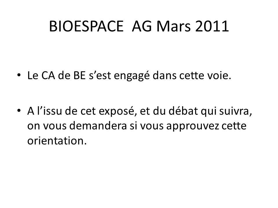 BIOESPACE AG Mars 2011 Le CA de BE s'est engagé dans cette voie.