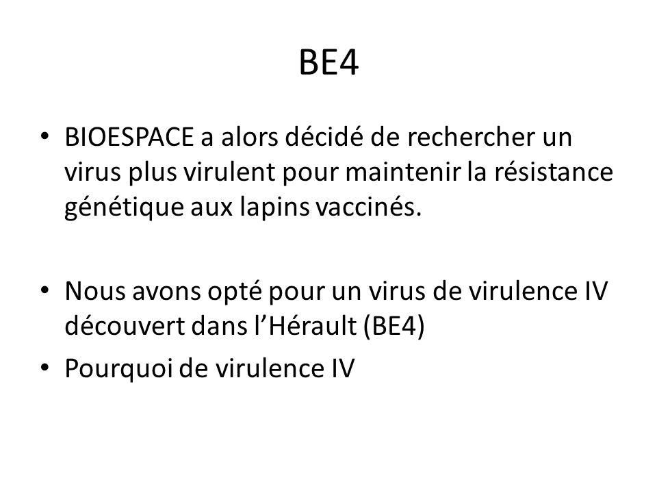 BE4 BIOESPACE a alors décidé de rechercher un virus plus virulent pour maintenir la résistance génétique aux lapins vaccinés.