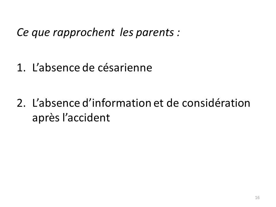 Ce que rapprochent les parents :