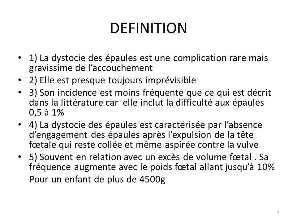 DEFINITION 1) La dystocie des épaules est une complication rare mais gravissime de l'accouchement.