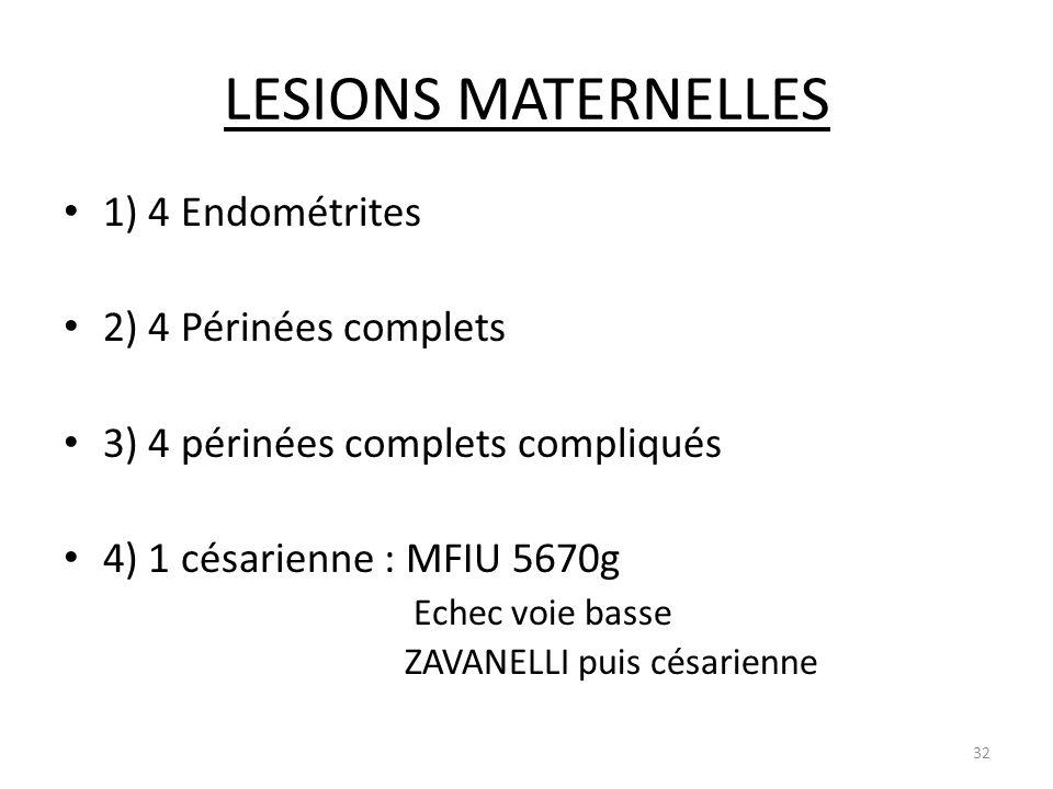 LESIONS MATERNELLES 1) 4 Endométrites 2) 4 Périnées complets