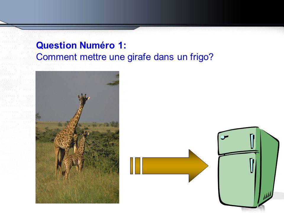 Question Numéro 1: Comment mettre une girafe dans un frigo