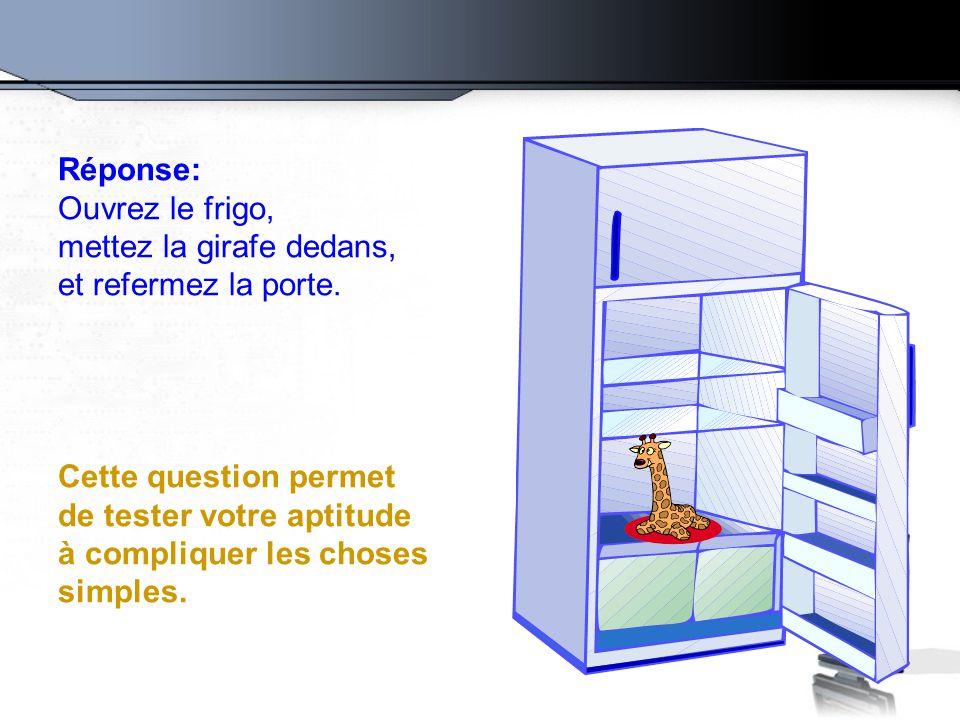 Réponse: Ouvrez le frigo, mettez la girafe dedans, et refermez la porte.