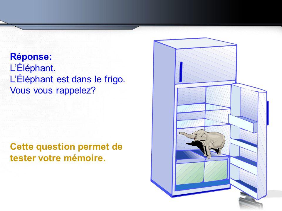 Réponse: L'Éléphant. L'Éléphant est dans le frigo.
