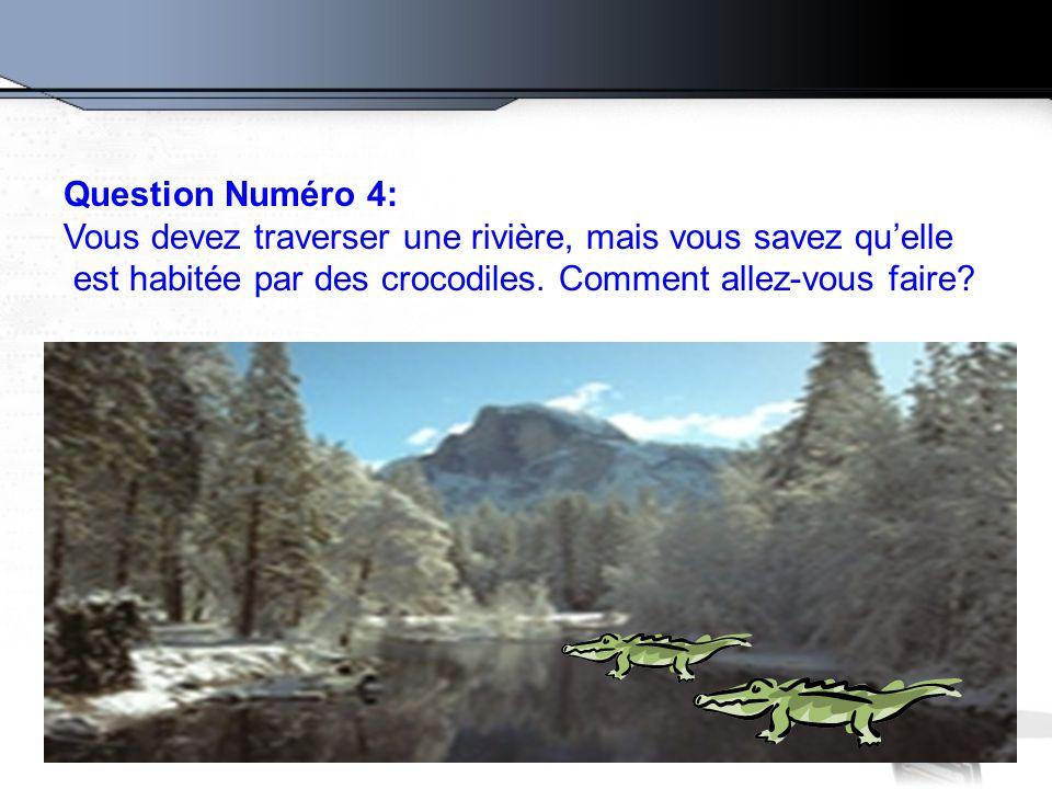 Question Numéro 4: Vous devez traverser une rivière, mais vous savez qu'elle.