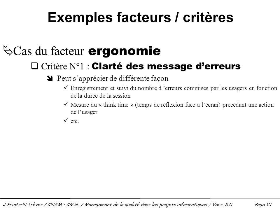 Exemples facteurs / critères
