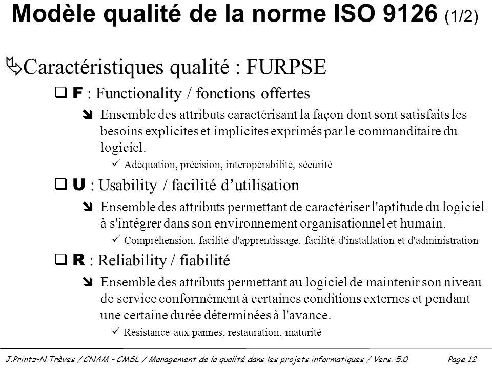 Modèle qualité de la norme ISO 9126 (1/2)