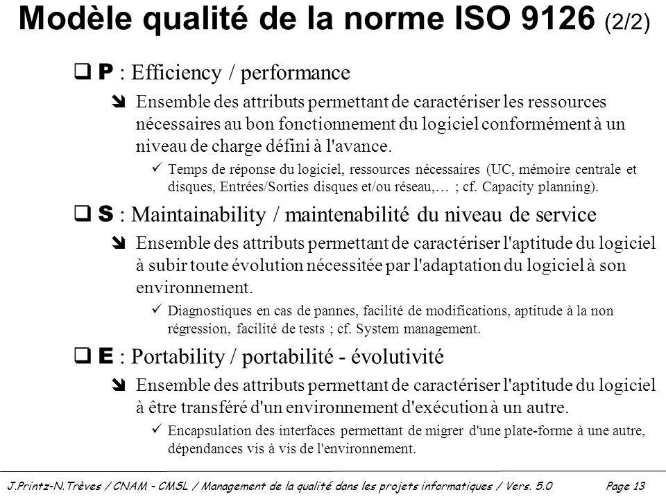 Modèle qualité de la norme ISO 9126 (2/2)