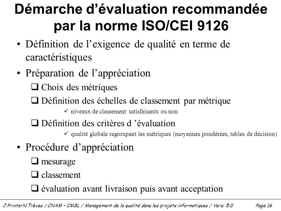 Démarche d'évaluation recommandée par la norme ISO/CEI 9126