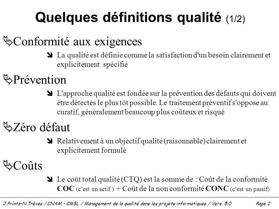 Quelques définitions qualité (1/2)