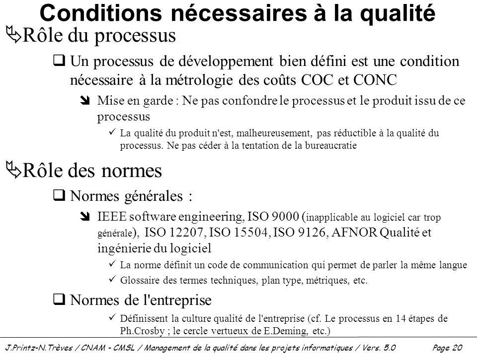 Conditions nécessaires à la qualité