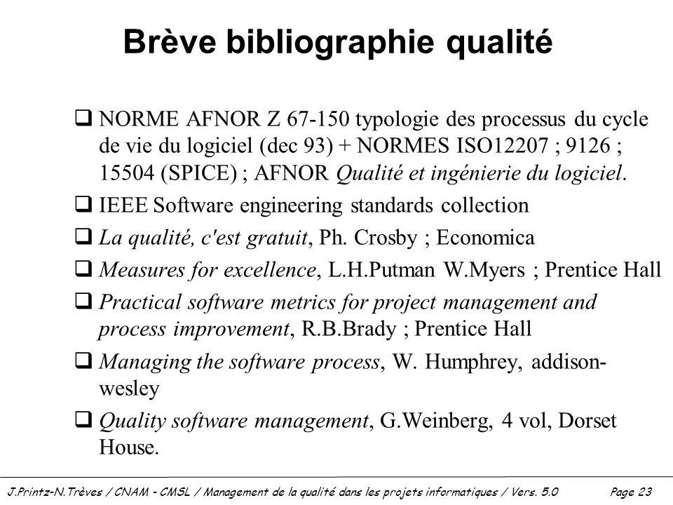 Brève bibliographie qualité