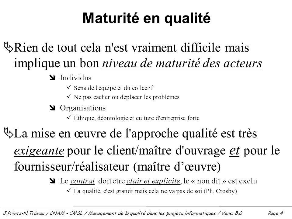 Maturité en qualité Rien de tout cela n est vraiment difficile mais implique un bon niveau de maturité des acteurs.