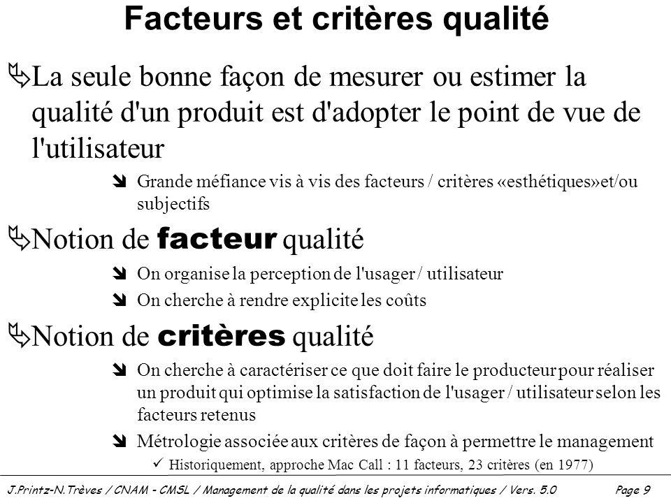 Facteurs et critères qualité