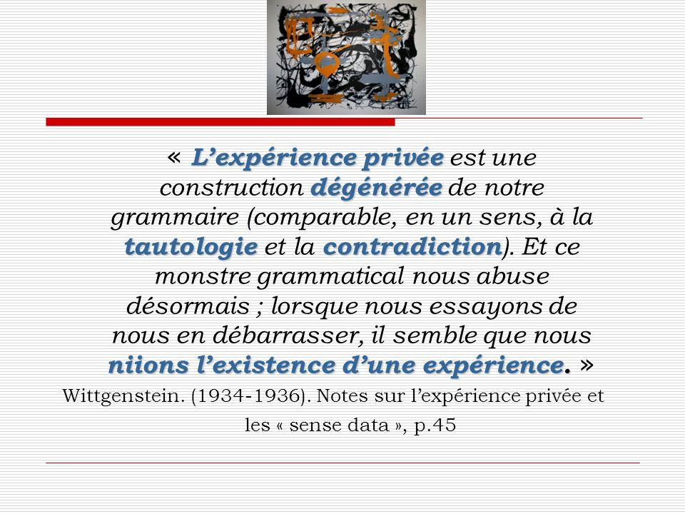 « L'expérience privée est une construction dégénérée de notre grammaire (comparable, en un sens, à la tautologie et la contradiction). Et ce monstre grammatical nous abuse désormais ; lorsque nous essayons de nous en débarrasser, il semble que nous niions l'existence d'une expérience. »