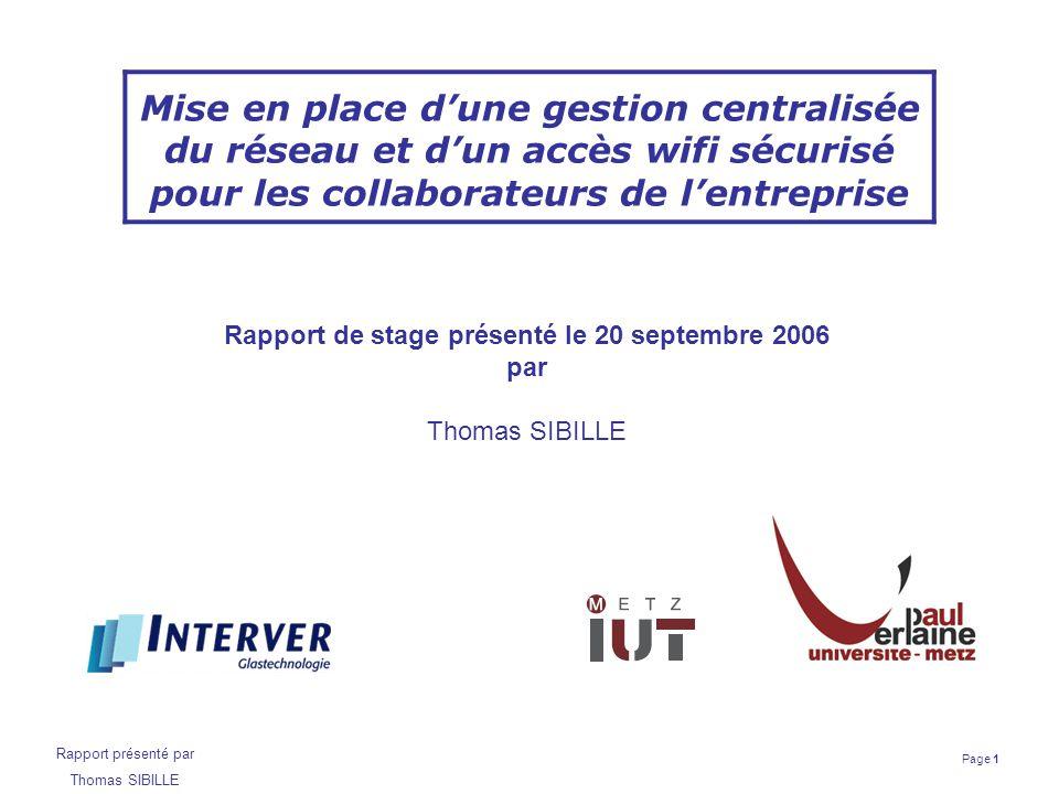 Rapport de stage présenté le 20 septembre 2006
