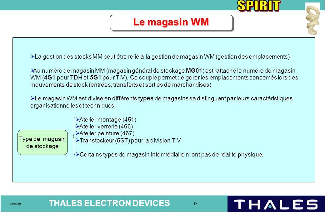 Le magasin WM La gestion des stocks MM peut être relié à la gestion de magasin WM (gestion des emplacements)