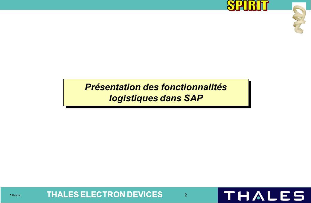 Présentation des fonctionnalités logistiques dans SAP
