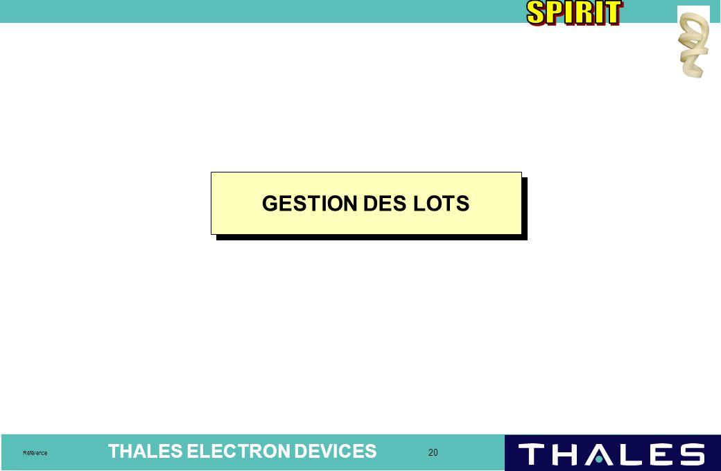 GESTION DES LOTS