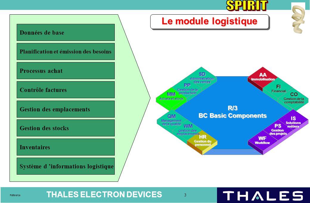 Le module logistique Données de base Processus achat Contrôle factures