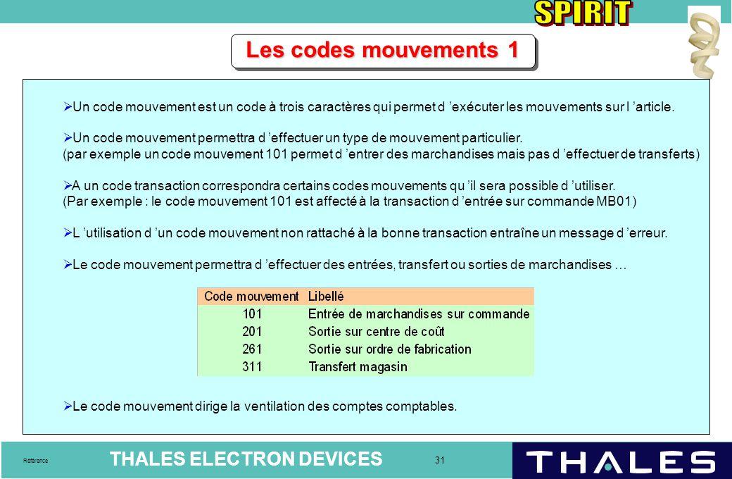 Les codes mouvements 1 Un code mouvement est un code à trois caractères qui permet d 'exécuter les mouvements sur l 'article.