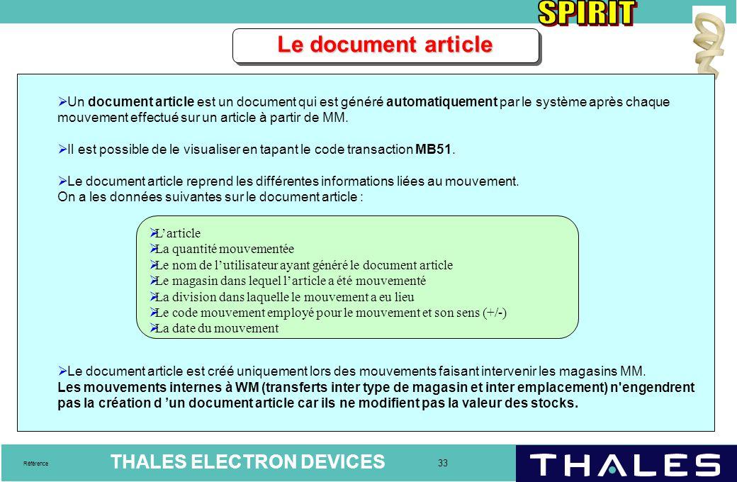 Le document article Un document article est un document qui est généré automatiquement par le système après chaque.