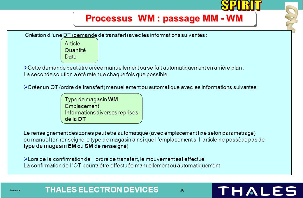 Processus WM : passage MM - WM