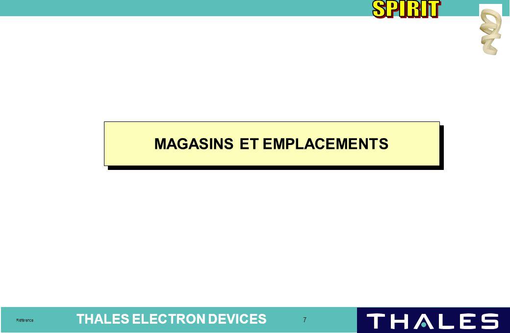 MAGASINS ET EMPLACEMENTS