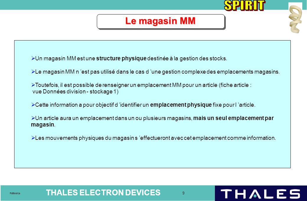 Le magasin MM Un magasin MM est une structure physique destinée à la gestion des stocks.