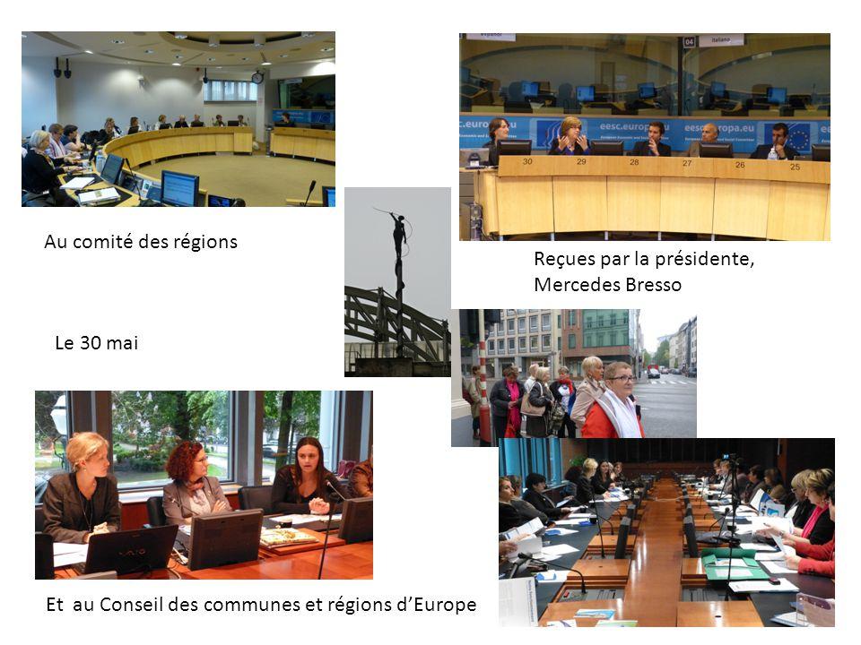 Au comité des régions Reçues par la présidente, Mercedes Bresso.