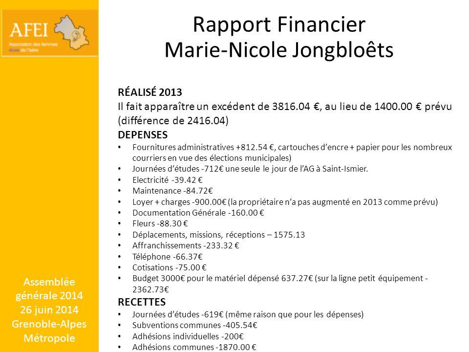Rapport Financier Marie-Nicole Jongbloêts RÉALISÉ 2013