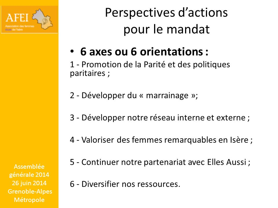 Perspectives d'actions pour le mandat