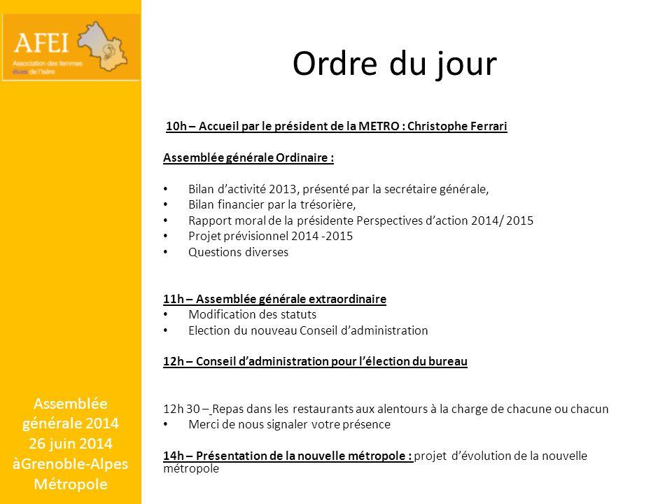 Assemblée générale 2014 26 juin 2014 àGrenoble-Alpes Métropole