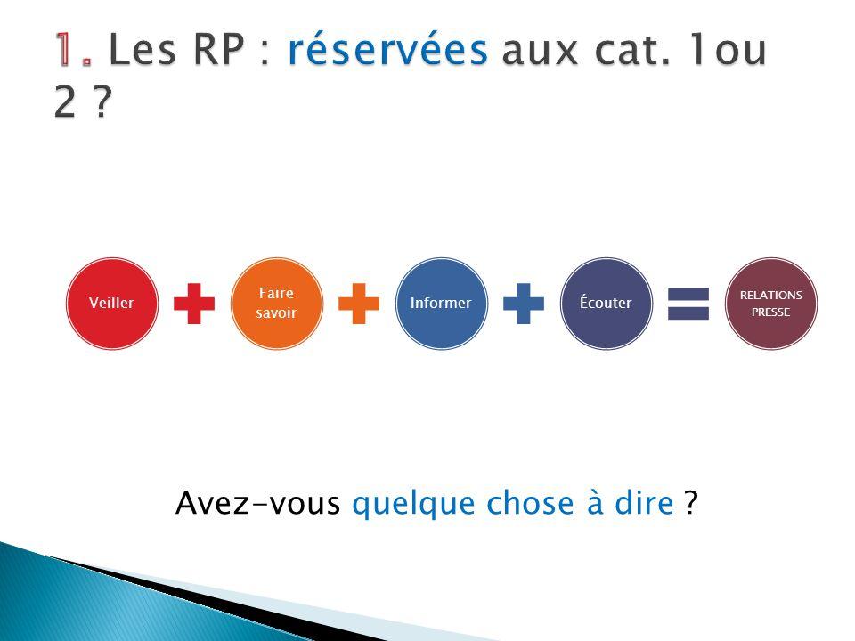 1. Les RP : réservées aux cat. 1ou 2